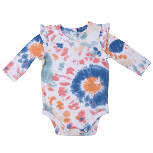 Long Sleeve Ruffle Bodysuit, Canyon Haze Ray Tie Dye
