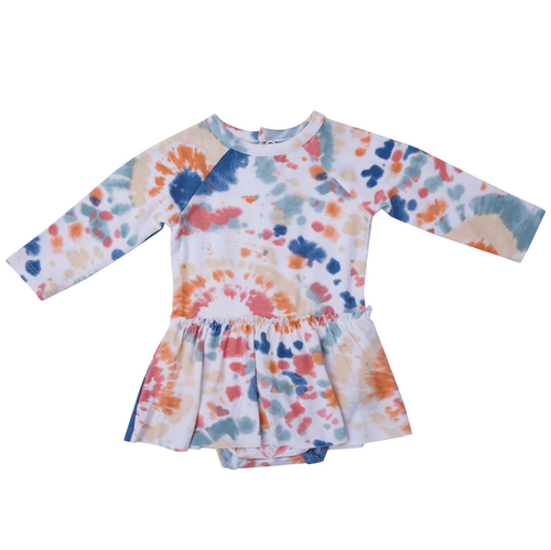 Long Sleeve Skirted Bodysuit, Canyon Haze Ray Tie Dye