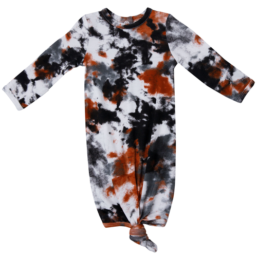 Knotted Gown, Crinkle Tie Dye Grey