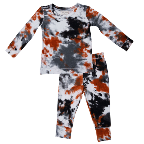 2-Piece Lounge Wear Set, Crinkle Tie Dye Grey