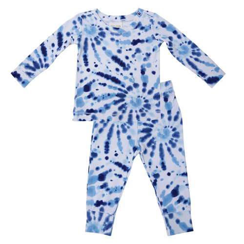 2-Piece Lounge Wear Set, Indigo Spiral Tie Dye