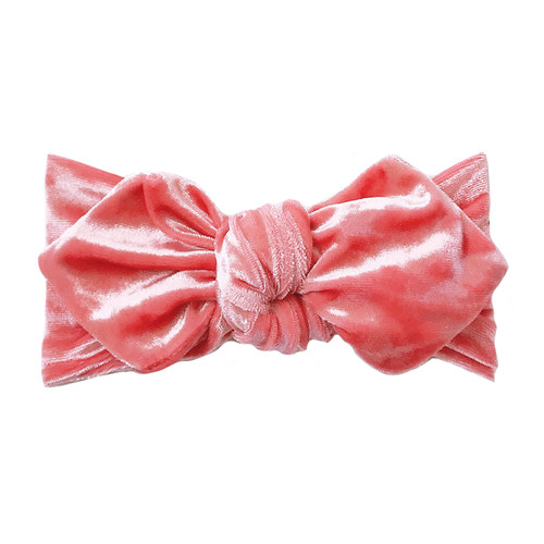 Top Knot Headband, Crushed Coral Velvet