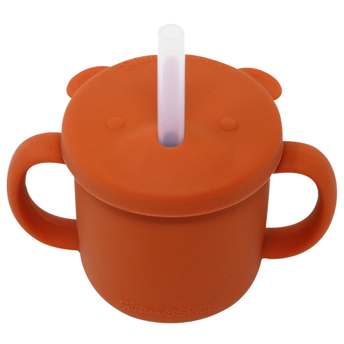 Grow With Me Silicone Bear Cup, Rust