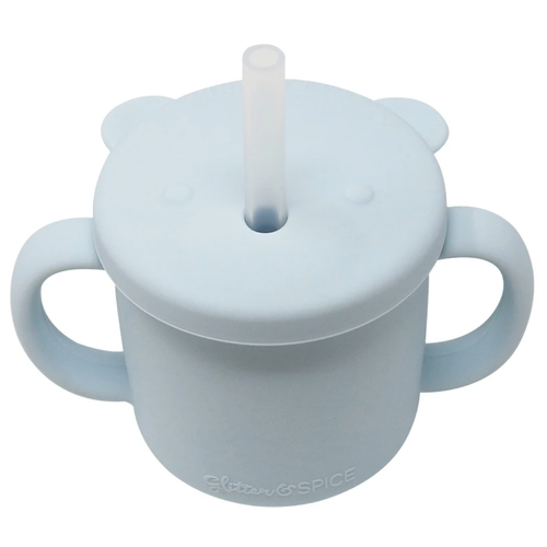 Grow With Me Silicone Bear Cup, Ice Blue