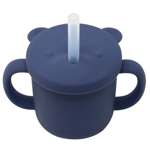 Grow With Me Silicone Bear Cup, Midnight Blue