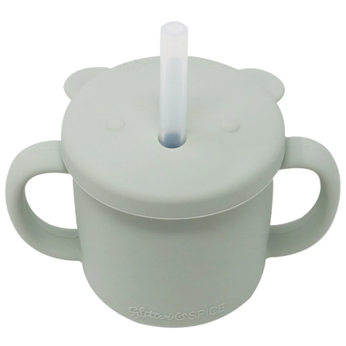 Grow With Me Silicone Bear Cup, Sage
