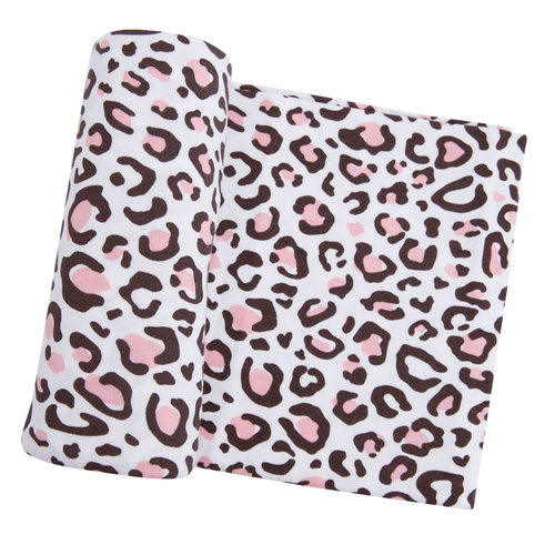 Stretch Swaddle, Leopard Pink