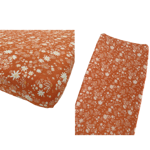 Muslin Crib Sheet & Changing Pad Cover Set, Daisy