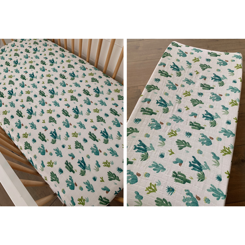 Muslin Crib Sheet & Changing Pad Cover Set, Cactus