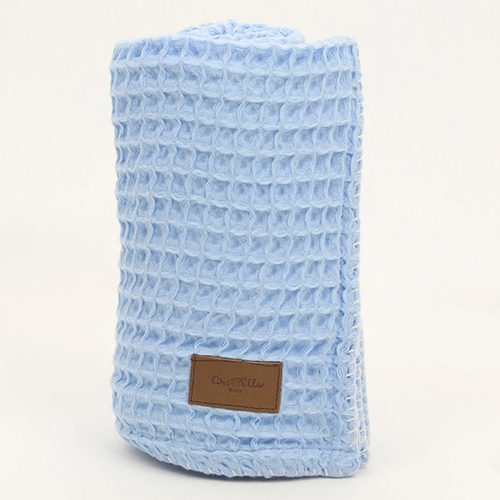 Organic Cotton Waffle Knit Baby Blanket, Blue