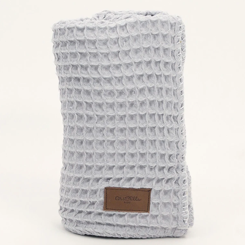 Organic Cotton Waffle Knit Baby Blanket, Light Grey