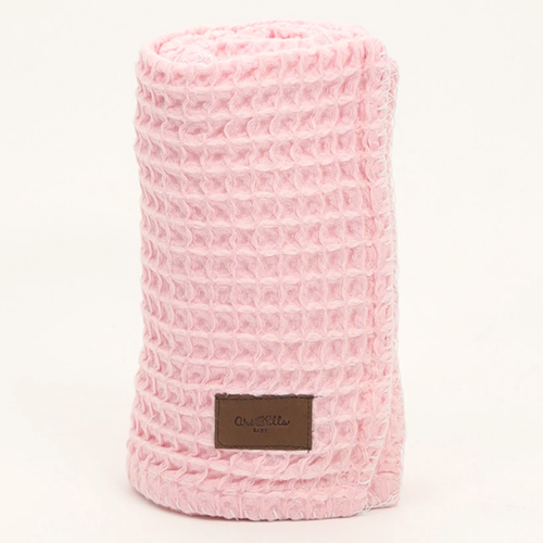 Organic Cotton Waffle Knit Baby Blanket, Pink