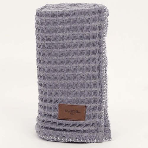 Organic Cotton Waffle Knit Baby Blanket, Charcoal