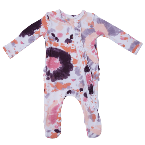 Ruffle Zipper Footie, Purple Haze Ray Tie Dye