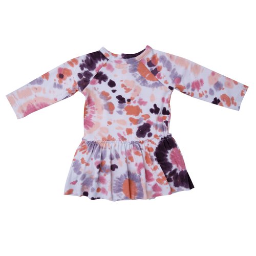 Long Sleeve Skirted Bodysuit, Purple Haze Ray Tie Dye