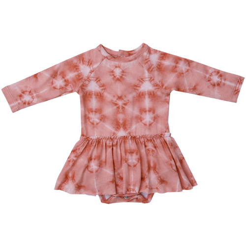 Long Sleeve Skirted Bodysuit, Southwest Shibori