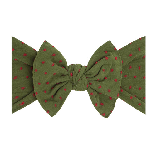 Christmas Shabby Knot Bow, Hunter/Red Dot