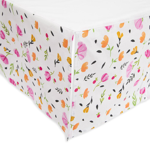 Cotton Percale Crib Skirt, Berry & Bloom