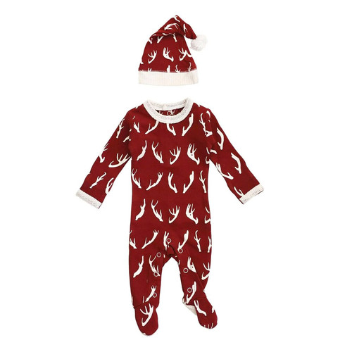 Organic Holiday Footie & Cap Set, Oh, Deer
