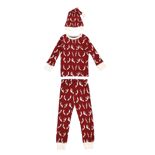 Organic Kids LS PJ and Cap Set, Oh, Deer