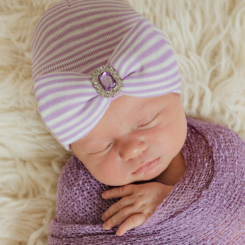 Newborn Hat, Lavender Stripe Jewel Bow