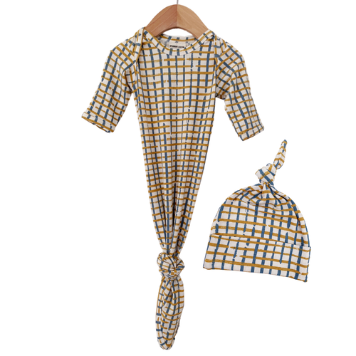 Knotted Gown & Hat Set, Blue Check