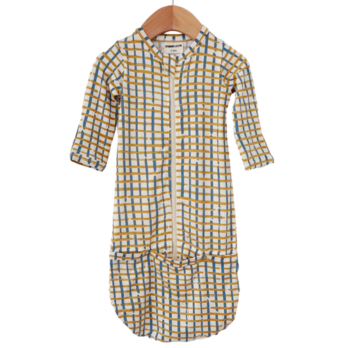 Convertible Zip Gown, Blue Check