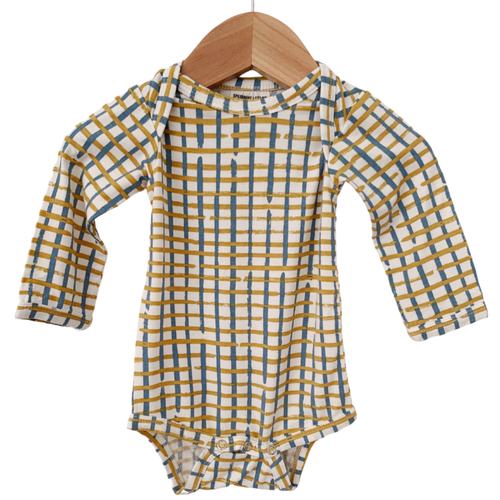 Long Sleeve Bodysuit, Blue Check