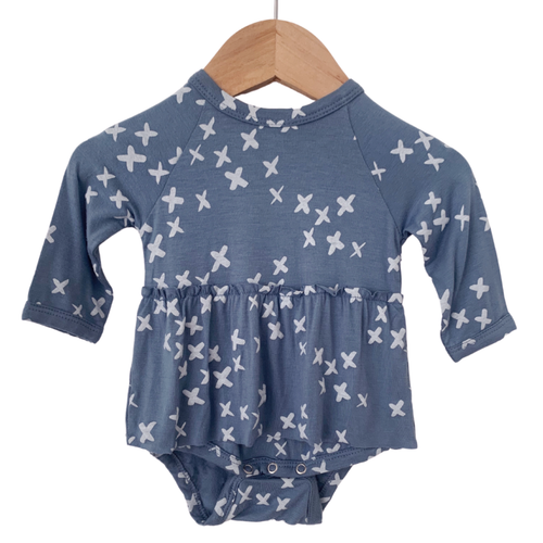 Long Sleeve Skirted Bodysuit, Blue Kisses