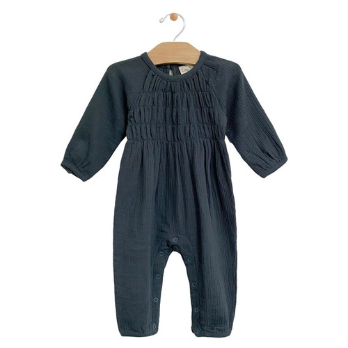 Muslin Smocked Romper, Storm Cloud