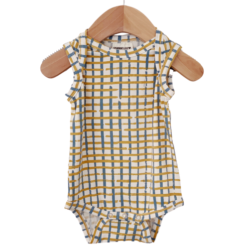 Sleeveless Bodysuit, Blue Check