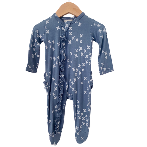 Ruffle Zipper Footie, Blue Kisses