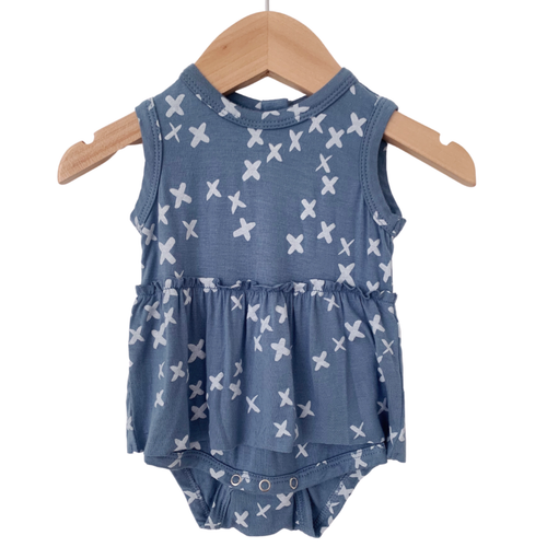 Sleeveless Skirted Bodysuit, Blue Kisses