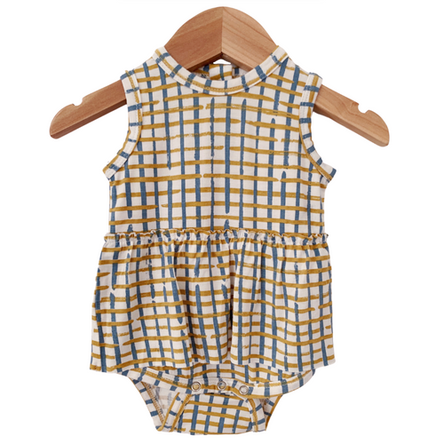 Sleeveless Skirted Bodysuit, Blue Check