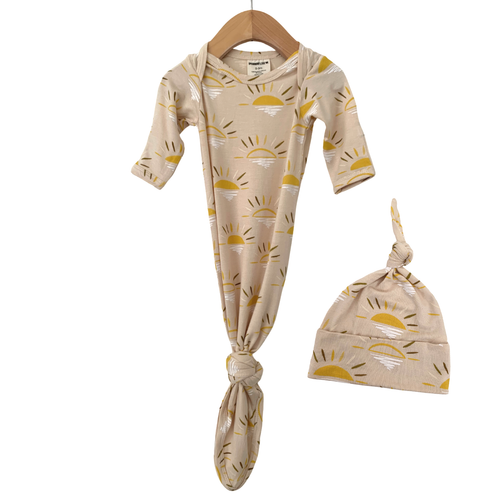 Knotted Gown & Hat Set, Sand Sun