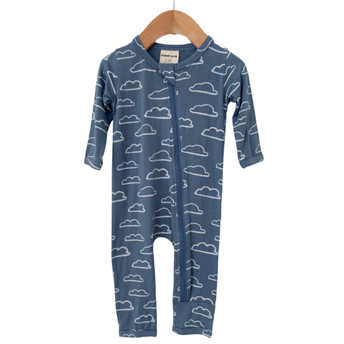 Basic Zip Romper, Sky Cloud