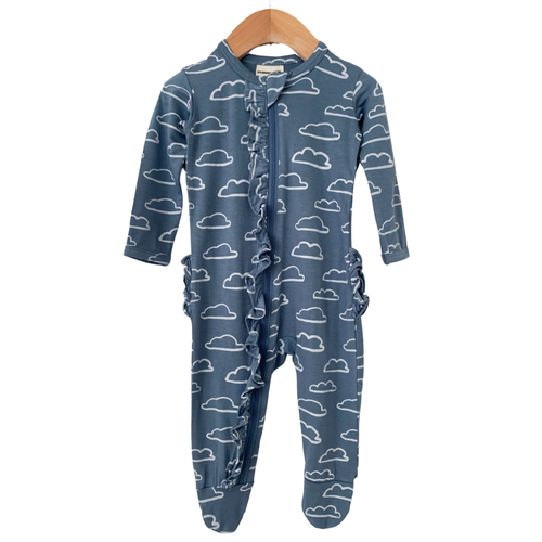 Ruffle Zipper Footie, Sky Cloud