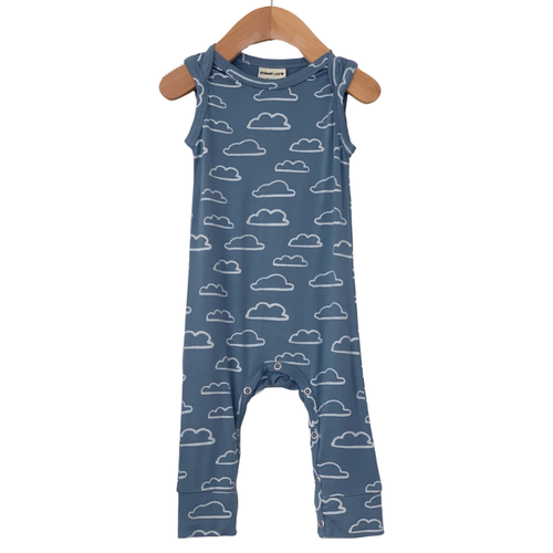 Sleeveless Romper, Sky Cloud