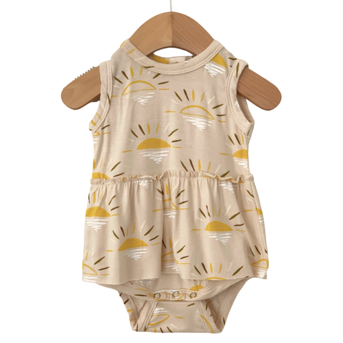Sleeveless Skirted Bodysuit, Sand Sun