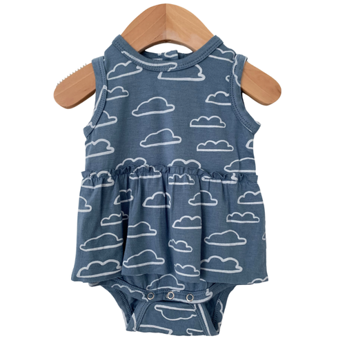 Sleeveless Skirted Bodysuit, Sky Cloud