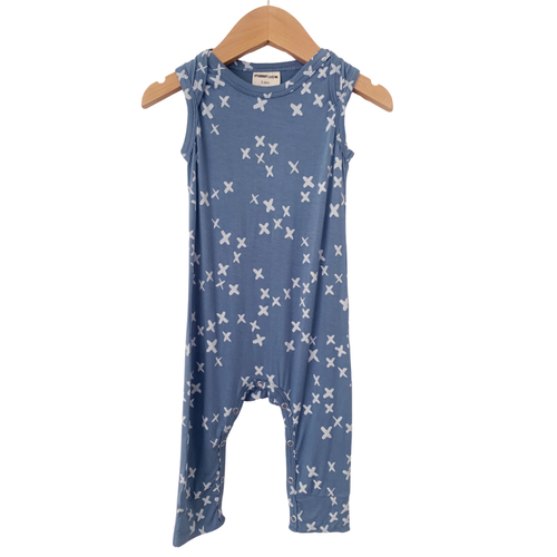 Sleeveless Romper, Blue Kisses