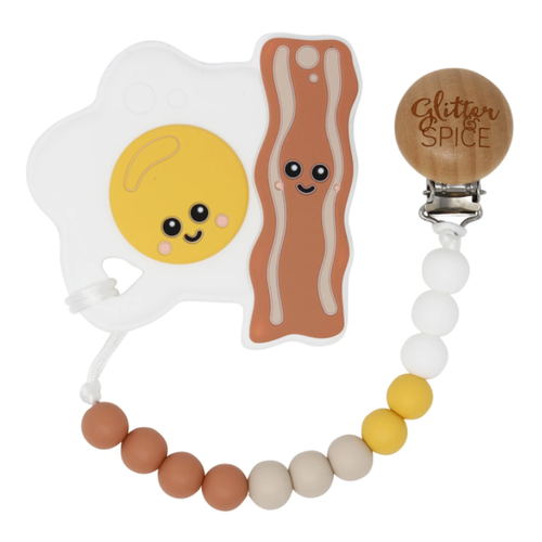Teether & Clip Set, Bacon & Eggs