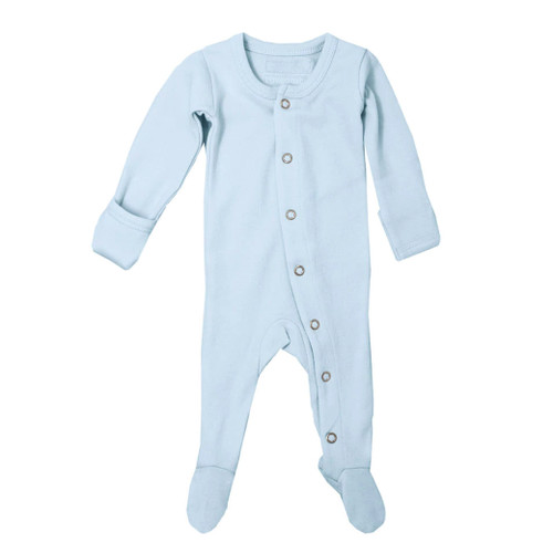 Organic Snap Footed Romper, Moonbeam