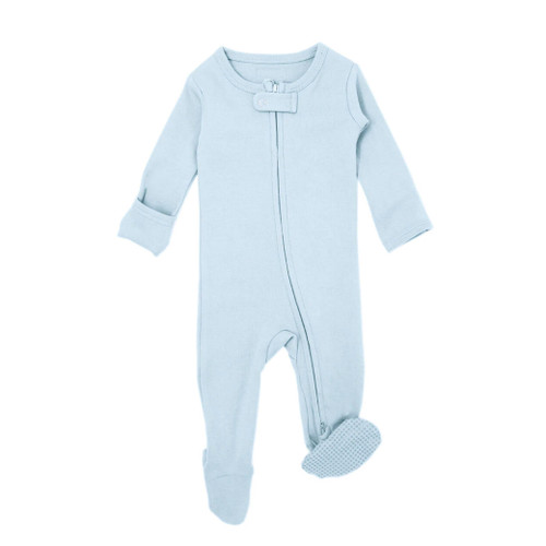 Organic Zipper Footed Romper, Moonbeam