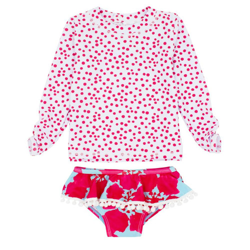 Sandy Toes LS Rashguard Set, Raspberry
