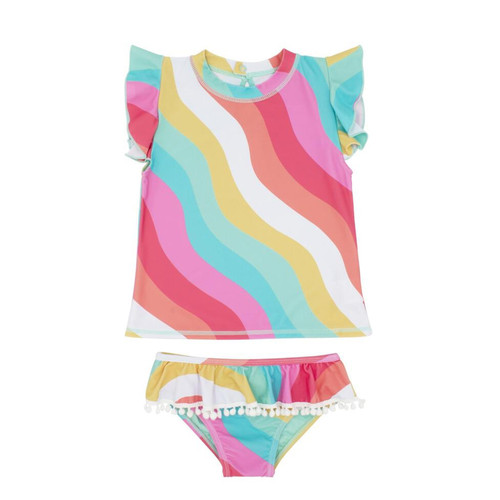 Seashell SS Ruffle Swim Set, Tropical