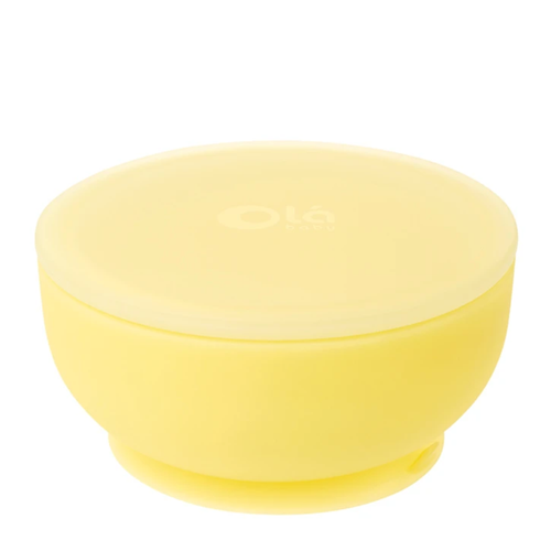 Suction Silicone Bowl With Lid, Lemon