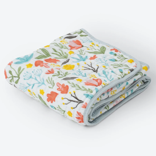 Cotton Muslin Baby Quilt, Meadow