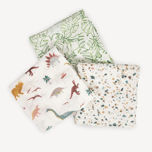 Muslin Swaddle 3 - Pack, Dino Days