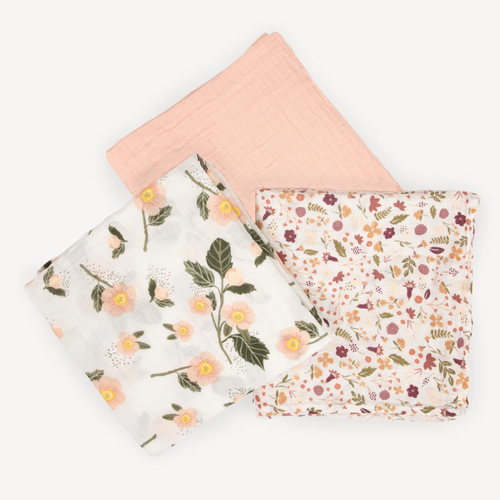 Muslin Swaddle 3 - Pack, Blushing Bloom